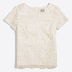 J. Crew Factory Lace Tee (Ivory) NWT